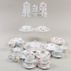 Assembled Shelley Porcelain Coffee and Dessert Service in the 'Blue Rock', 'Bridal Rose' and a Similar Pattern