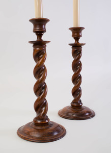 Pair of English Turned Wood Candlesticks