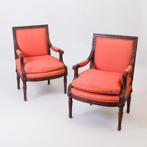 Pair of Louis XVI Style Stained Fauteuil à la Reine, of Recent Manufacture