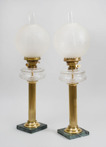 Pair of American Cut-Glass, Brass and Mottled Green Marble Reeded Column-Form Oil Lamps
