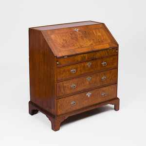 American Chippendale Crossbanded Walnut and Mahogany Slant-Front Desk
