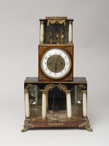 Austrian Neoclassical Gilt-Metal Mounted Fruitwood Clock with Automaton Group