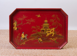 GEORGE III STYLE RED JAPANNED AND PARCEL-GILT TRAY MOUNTED AS LOW TABLE WITH GLASS TOP