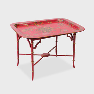 George III Style Red Japanned and Parcel-Gilt Tray on Painted Wood Stand