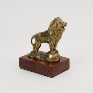Gilt-Metal Figure of a Lion on Burl Wood Base