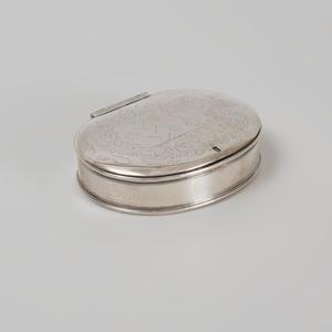 English Silver Oval Snuff Box