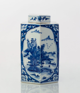 CHINESE BLUE AND WHITE PORCELAIN FACETED JAR AND COVER