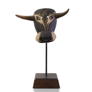 Mexican Painted Wood Bull Mask