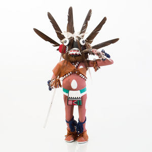 Painted Wood, Shell and Feather Black Ogre Kachina
