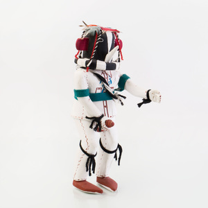 Painted Wood and Fiber Kachina with Erection