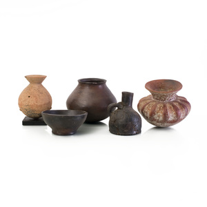 Group of Five Mid-East Burnished Pottery Vessels