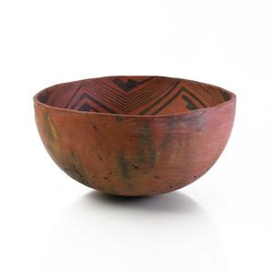 Southwest Prehistoric Large Black on Red Burnished Pottery Bowl