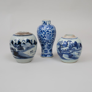Three Chinese Blue and White Porcelain Vessels