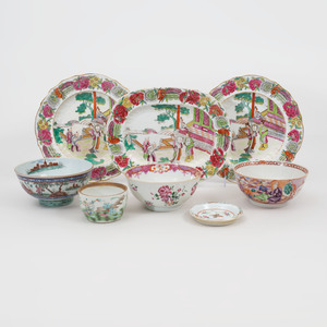 Group of Seven Chinese Export and Chinese Export Style Porcelain Tablewares