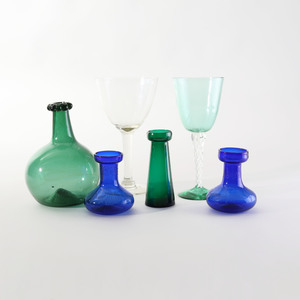 Group of Six Colored and Colorless Glass Table Articles