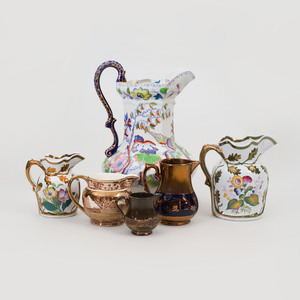 Group of Six English Ceramic Pitchers