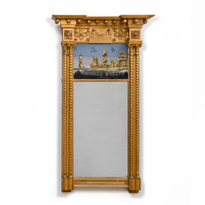 Federal Giltwood and Verre Églomisé Mirror