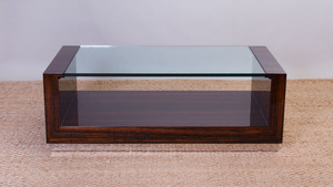 ART DECO STYLE CHROME AND MACASSAR EBONY AND GLASS LOW TABLE