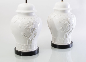 PAIR OF LARGE BLANC DE CHINE STYLE BALUSTER JARS MOUNTED AS LAMPS