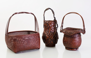 Two Japanese Brown-Stained Ikebana Baskets