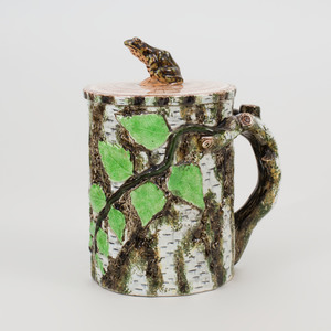 English Glazed Pottery Birch Form Mug and Cover with Frog Form Finial