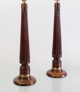 PAIR OF REGENCY STYLE REEDED MAHOGANY LAMPS