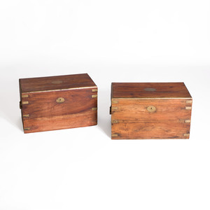 Two Anglo-Indian Brass-Mounted Hardwood Boxes