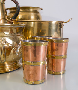 Set of Six Riveted Brass-Banded Copper Beakers