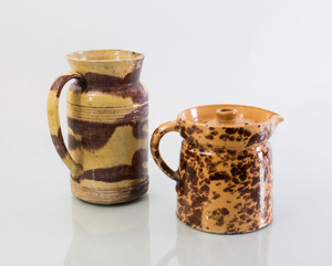 GROUP OF SIX FRENCH, ENGLISH AND CONTINENTAL GLAZED PITCHERS