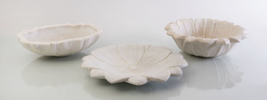 TWO ALABASTER CARVED DISHES, A MARBLE DISH AND A GROUP OF MINERAL SPECIMENS