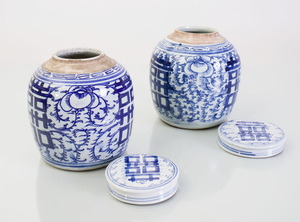 Assembled Pair of Chinese Blue and White Ginger Jars and Associated Covers