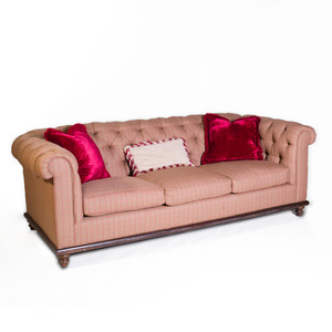 Victorian Style Mahogany and Tufted Plaid Upholstered Sofa
