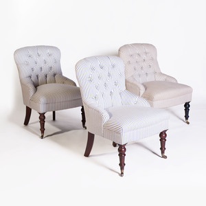 Set of Three Victorian Style Tufted Upholstered Slipper Chairs