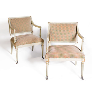 Pair of Neoclassical Style Painted and Parcel Gilt Armchairs