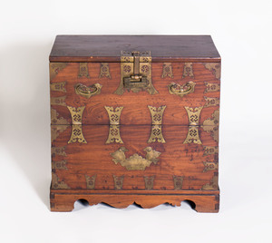 Brass-Mounted Hardwood Chest in the Chinese Taste