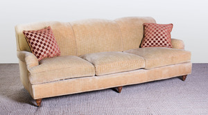 CHENILLE UPHOLSTERED THREE-SEAT SOFA