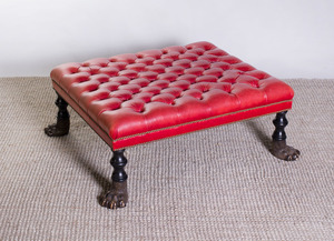 VICTORIAN STYLE CARVED MAHOGANY TUFTED-LEATHER OTTOMAN