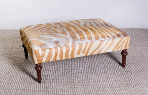 VICTORIAN STYLE MAHOGANY AND CALF-SKIN-UPHOLSTERED OTTOMAN
