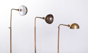 SET OF THREE BRASS RETRACTABLE READING LAMPS, VISUAL COMFORT & CO.