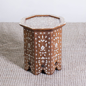 MOROCCAN BONE AND PEWTER-INLAID HARDWOOD OCTAGONAL-SHAPED SIDE TABLE
