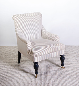 VICTORIAN STYLE EBONIZED AND UPHOLSTERED ARMCHAIR