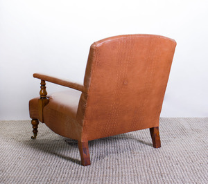 VICTORIAN STYLE TEXTURED LEATHER LIBRARY ARMCHAIR