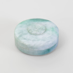Chinese Jadeite Circular Box and Cover