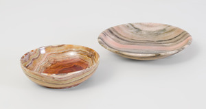 Carved Hardstone Bowl and a Rhodonite Dish