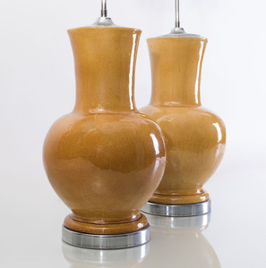 PAIR OF AMBER CRACKLE GLAZED CERAMIC BALUSTER-FORM VASES MOUNTED AS LAMPS