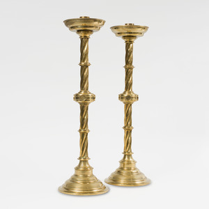 Pair of Tall English Brass Altar Candlesticks, After a Model Designed by Pugin for John Hardman