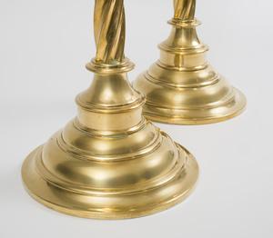 Pair of Tall English Brass Altar Candlesticks, After a Model Designed by Pugin for John Hardman