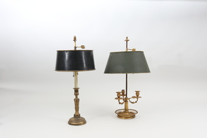Louis XVI Style Ormolu Three-Light Bouillotte Lamp and a Candlestick Lamp