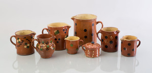 GROUP OF EIGHT FRENCH GLAZED POTTERY JUGS
