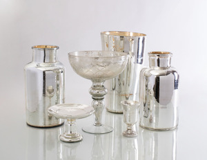 GROUP OF SIX MERCURY GLASS TABLE ARTICLES